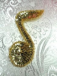 LC1541 Music Note Gold Beaded Sequin Applique 3.75""