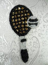 """LC1553 Multicolor Tennis Racket Beaded  Applique 3.75"""""""