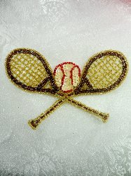 LC1559 Brown Gold Double Tennis Racket Beaded  Applique 5.5""