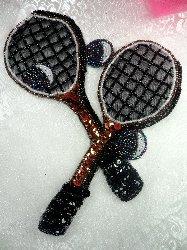 "LC1560 Black MultiColor Double Tennis Racket Beaded  Applique 8"""