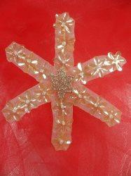 "LC1577 Vintage SnowFlake Applique Beaded Sequin Patch 3"""