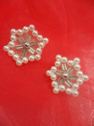 """LC1578 SnowFlake pair Applique Beaded Sequin Patch 1"""""""