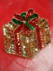 """LC1579 Gold Christmas Gift Applique Beaded Sequin Patch 3.5"""""""