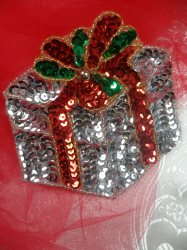"""LC1580 Silver Christmas Gift Applique Beaded Sequin Patch 2"""""""