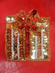 """LC1580 Christmas Gift Applique Beaded Sequin Patch 2"""""""