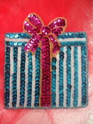"""LC1581 Turquoise Christmas Gift Applique Beaded Sequin Patch 5.5"""""""