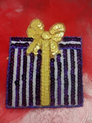 """LC1581 Purple Christmas Gift Applique Beaded Sequin Patch 5.5"""""""