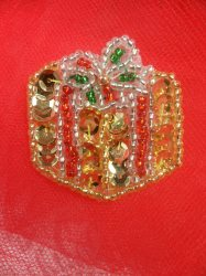 """LC1582 Gold Christmas Gift Applique Beaded Sequin Patch 1.25"""""""