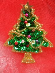 """LC1583 Christmas Tree  Applique Beaded Sequin Patch 2"""""""