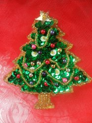 """LC1584 Christmas Tree  Applique Beaded Sequin Patch 2.5"""""""