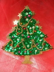"""LC1585 Christmas Tree  Applique Beaded Sequin Patch 4.5"""""""
