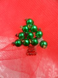 """LC1587 Christmas Tree  Applique Beaded Patch .75"""""""