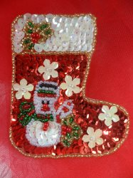 """LC1588 Christmas Stocking Applique Beaded Sequin Patch 3"""""""