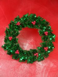"""LC1589 Christmas Wreath Applique Beaded Sequin Patch 3.5"""""""