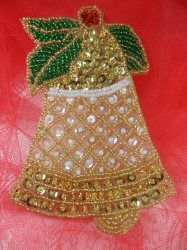 """LC1590 Christmas Bell Applique Beaded Sequin Patch 4"""""""
