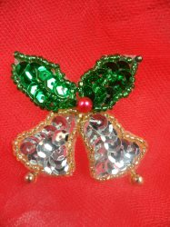 """LC1591 Christmas Bell Applique Beaded Sequin Patch 1.5"""""""