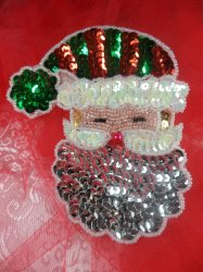 LC1593 Christmas Santa Claus Face Applique Beaded Sequin Patch 4""