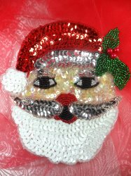 LC1594 Christmas Santa Applique Beaded Sequin Patch 5.5""