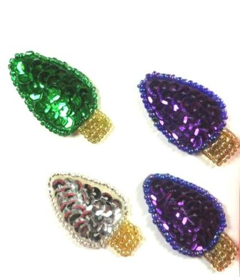 """LC1597 Christmas Lights Bulbs 4pc  Appliques Beaded Sequin Patch 1.5"""""""