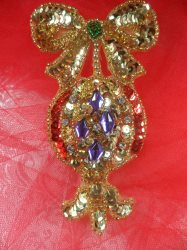 """LC1600 Christmas Ornament Applique Beaded Sequin Patch 4"""""""