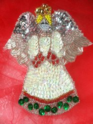 """LC1603 Christmas Angel Applique Beaded Sequin Patch 4"""""""
