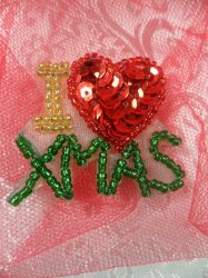 """LC1604 I Love Christmas  Applique Beaded Sequin Patch 1.5"""""""