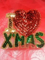 """LC1605 I Love Christmas Applique Beaded Sequin Patch 2.5"""""""