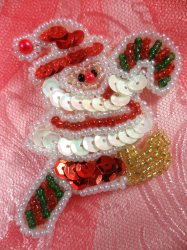 LC1606 Christmas Santa Applique Beaded Sequin Patch 2""