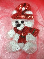 """LC1607 Christmas Bear Applique Beaded Sequin Patch 3"""""""