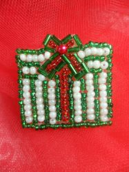 """LC1611 Green & White Christmas Gift Applique Beaded Sequin Patch 1.25"""""""