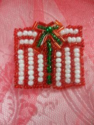 """LC1611 Red White Christmas Gift Applique Beaded Sequin Patch 1.25"""""""