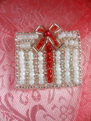 """LC1611 White Christmas Gift w/ red Bow Applique Beaded Sequin Patch 1.25"""""""