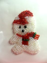"""LC1612 Christmas Bear Applique Beaded Sequin Patch 1.75"""""""