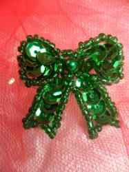 """LC1617 Green Christmas Bow Applique Beaded Sequin Patch 1"""""""