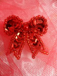 """LC1617 Red Christmas Bow Applique Beaded Sequin Patch 1"""""""