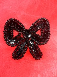LC1620 Black Bow Applique Beaded Sequin Patch 1.5""