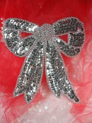 """LC1624 Silver Christmas Bow Applique Beaded Sequin Patch 4.5"""""""