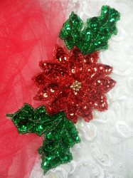 """LC1647 Christmas Poinsettia Flower  Applique Beaded Sequin Patch 4.5"""""""