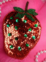 LC1736  Self Adhesive Red w/Green Strawberry Applique Beaded Sequin Patch 4.5""