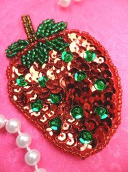 LC1737 Self Adhesive Red w/Green Strawberry Applique Beaded Sequin Patch 2.75""