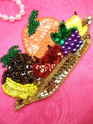 LC1741 Self Adhesive Multicolor Fruit Basket Beaded Sequin Applique 5""