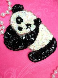 LC1757 Self Adhesive Black White Panda Bear Beaded Sequin Applique 4""