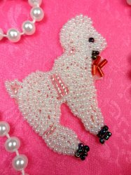 LC1758 Self Adhesive White Poodle Beaded Applique 2.25""