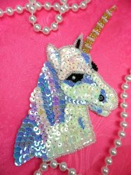 LC1759 Self Adhesive Multicolor Unicorn Beaded Sequin Applique 5""