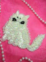 LC1766 Self Adhesive White Cat Beaded Sequin Applique 4""