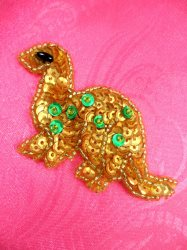 LC1769 Self Adhesive Gold w/Green Dinosaurs Beaded Sequin Applique 2.75""
