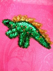 LC1770 Self Adhesive Multicolor Dinosaurs Beaded Sequin Applique 3""