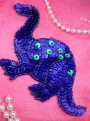 LC1774 Self Adhesive Purple Dinosaurs Beaded Sequin Applique 6""