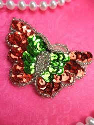 LC1781 Self Adhesive Multicolor Butterfly Beaded Sequin Applique 2.25""