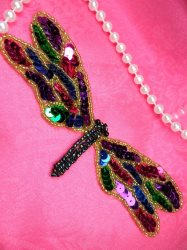 LC1782 Self Adhesive Multicolor Dragonfly Beaded Sequin Applique 5.5""